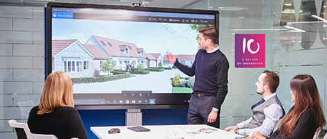 Ein interaktives Display bei einer Präsentation