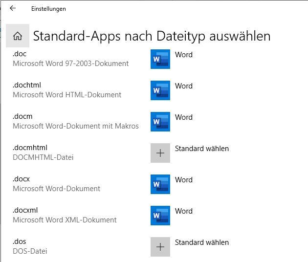 Screenshot - Standard-App nach Dateityp wählen