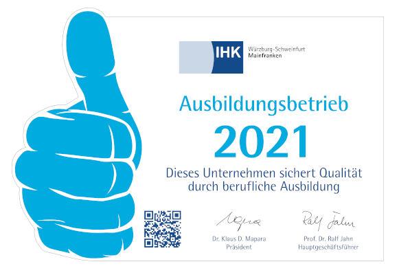 Aufkleber Ausbildungsbetrieb IHK 2021