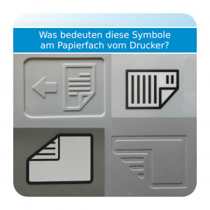 Symbole am Drucker – Papier einlegen
