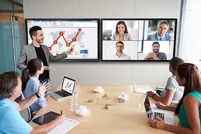 Konferenzraum-Präsentation mit zwei viewsonic viewboards