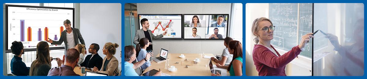 Verschiedene Grossformat-Displays im Einsatz bei Besprechung, Präsentation, Schulung