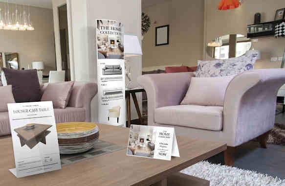 Beispiele von Beschilderungen in einem Möbelhaus
