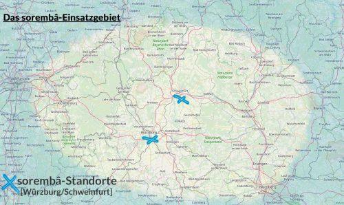 Service - Karte Einsatzgebiet - Unterfranken, Ober- und Mittelfranken